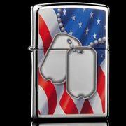 Зажигалка Zippo 28291 Flag And Dog Tags High Polish Chrome (зеркальный хром, рисунок армейских жетонов на фоне флага США)