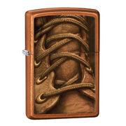 Зажигалка Zippo 28672 Boot Laces Toffee (коричневое тонирование крупнозернистой шлифовки хрома, рисунок шнуровки ботинка)