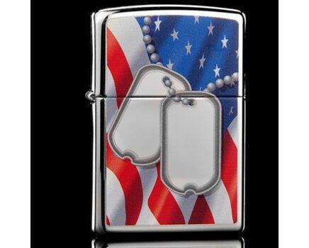 Купите зажигалку Zippo 28291 Flag And Dog Tags High Polish Chrome (зеркальный хром, рисунок армейских жетонов на фоне флага США) в интернет-магазине