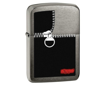 Купите зажигалку Zippo 28326 Zipped Black Ice (тонированная цирконием крупнозернистая шлифовка хрома, рисунок замка-молнии) в интернет-магазине