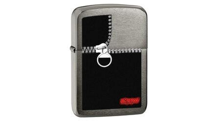 купите Зажигалка Zippo 28326 Zipped Black Ice (тонированная цирконием крупнозернистая шлифовка хрома, рисунок замка-молнии) в Москве