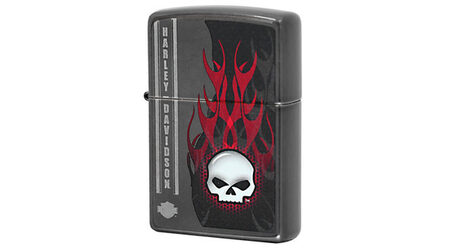 купите Зажигалка Zippo 28618 Harley Davidson Skull Flames Gray Dusk (тонированный хром с микроцарапинами, рисунок черепа и пламени. логотип) в Москве
