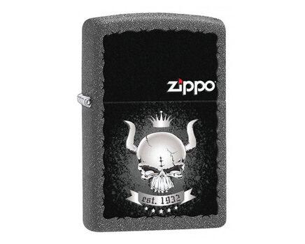 Купите зажигалку Zippo 28660 Skull with Horns and Crown with Zippo Logo Iron Stone (имитация кованого железа, рисунок рогатого черепа с короной, надпись, логотип Зиппо) в интернет-магазине