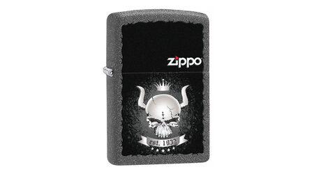 купите Зажигалка Zippo 28660 Skull with Horns and Crown with Zippo Logo Iron Stone (имитация кованого железа, рисунок рогатого черепа с короной, надпись, логотип Зиппо) в Москве