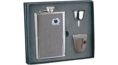 """Подарочный набор: фляга """"Пуля"""" 0 S.Quire 1508YGB-7-B, 3 стаканчика и воронка"""