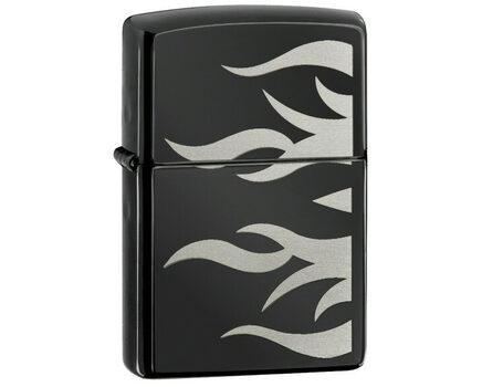 Купите зажигалку Zippo 24951 Ebony Tattoo Flame (черный глянец с металлическими языками пламени) в интернет-магазине