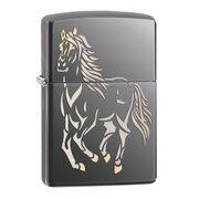 Зажигалка Zippo 28645 Running Horse Black Ice (тонированный цирконием зеркальный хром, оксидированный рисунок лошади)