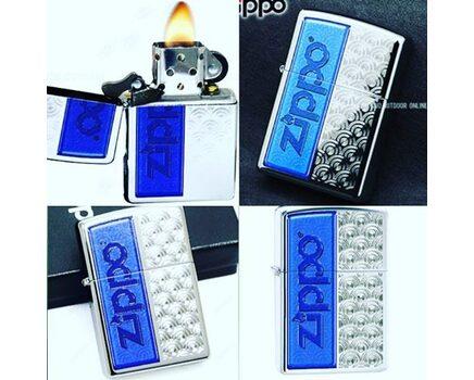 Купите зажигалку Zippo 28658 Blue Swirl with Zippo Logo High Polish Chrome (зеркальный хром, гравированный орнамент, логотип Зиппо) в интернет-магазине