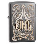 Зажигалка Zippo 28798 King Venetian Black Ice (тонированный цирконием зеркальный хром, гравировка рисунка и надписи Король)