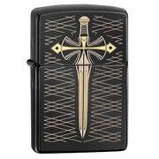 Зажигалка Zippo 28799 Gold Sword Ebony (черный глянец, гравировка меча с золочением)